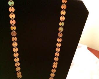 Vintage 1970's Gold Tone Disc Statement Necklace