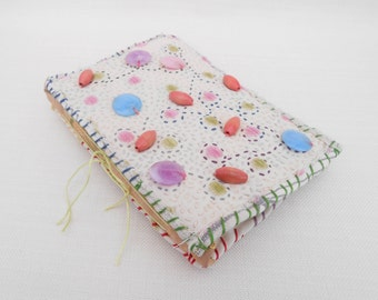 Small Recycled Journal with a Quilted Fabric Cover Containing a Mixture of Paper -Handmade Journal, Junk Journal, Smash Book, Fabric Journal