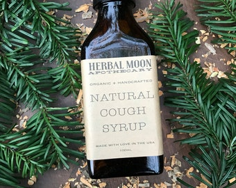 Organic, All-Natural Cough Syrup • organic herbs and raw, unfiltered honey • wild cherry bark, horehound, licorice root • 100ml