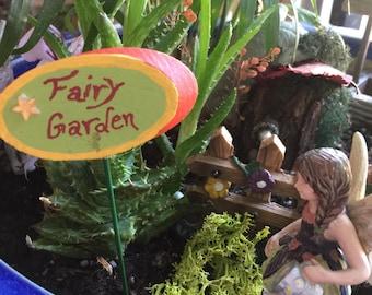 Miniature Fairy Garden Sign, Fairy Sign, Garden Sign, Handmade Fairy Sign, Terrarium , Miniature Garden, Faerie