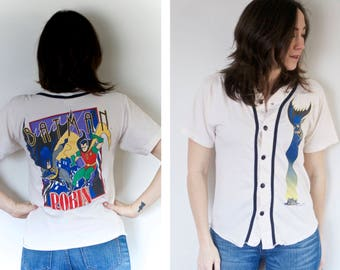 Vintage Batman and Robin Shirt | Baseball Style Button Up Top