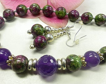 Ruby zoisite set with jade