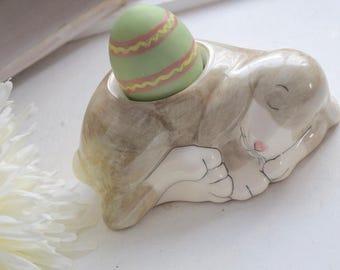 Ceramic Lop-Eared Sleeping Rabbit Egg Cup, breakfast, good morning sunshine