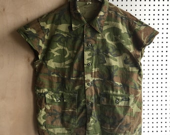 Rare Vintage Unique Military Camouflage Capped Sleeves Shirt