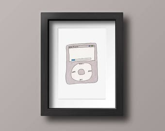 iPod Classic Music Decor, Marker Illustration, Hand Drawn Postcard