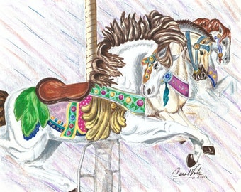 Notecards - Carousel Horses