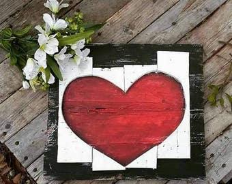 Heart pallet sign, valentines day decor, wedding gift anniversary birthday, wooden heart pallet art,  love sign, rustic classy love art
