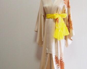 silk kimono /orange leef / Japanese vintage wear /night robe
