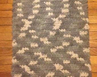 Grey / White Crochet Rug