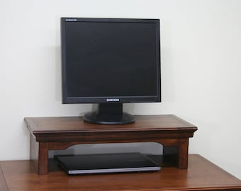 TV Riser Stand inTraditional Style Alder Wood with Mocha Finish By Udecorit