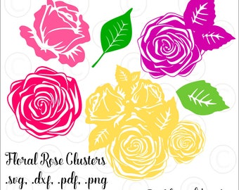 Rose Floral SVG Cut Files, Rose Clusters, Rose Vector File, Flower Cut files, Rose Silhouette, HTV, dxf files
