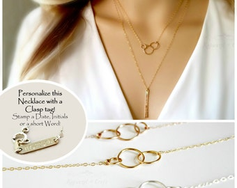 Linked Ring Infinity Necklace | 14kt Gold fill, Sterling Silver | 2 3 4 sisters | gift for mom | best friends | bridesmaid | 3 Generations