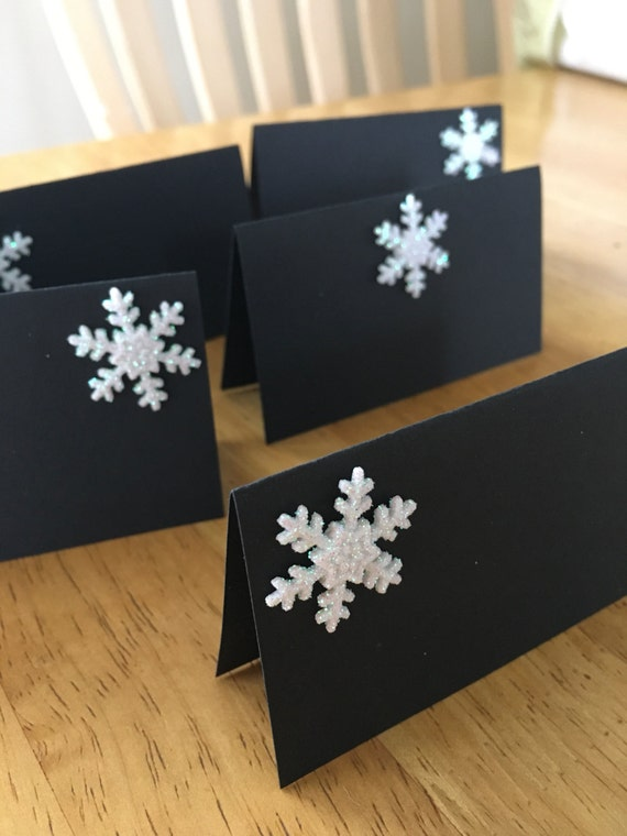 Snowflake Place Cards Glitter Name Cards Gift Tags Seat Assignments ...