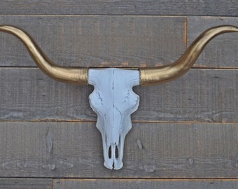 Longhorn Skull,Cow Skull,Bison,White and Gold,Long Horn,Texas,Fake Animal Head,Faux Taxidermy