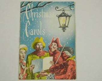 Vintage 1950 1960 Christmas Holiday Carols Book Given By State Planters Bank & Trust Richmond Virginia 13 Songs Color Graphics 4 by 6 Inches