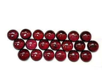 7MM Garnet Round Cabochon Pack of 10 Pc.  AAA Quality, Loose Gemstone