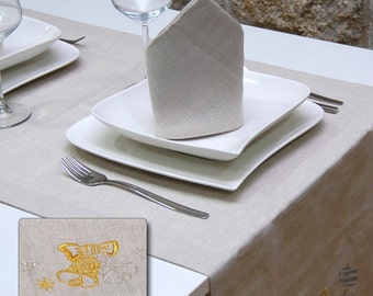 Luxury Embroidered Christmas Linen Table Runner - Pack of 2 units - Large hem