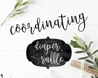 Coordinating Diaper Raffle Ticket - Matching any Key Paper Company Invitation Design