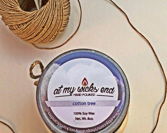 Cotton Tree Soy Candle//8oz.Mason Jar Candle//Essential Oils//Scented Candle
