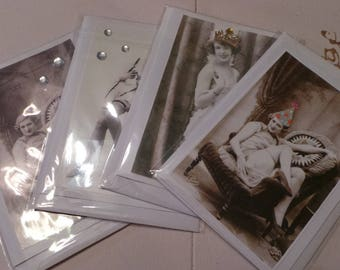 Upcycled Vintage Postcard Greetings Cards, Blank, with Envelopes Pack of 4