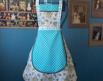 Retro 1920's Style Maid's Apron/Aqua Dot Apron/ Hostess Apron/ Women's Bib Apron/ Cotton Print Apron