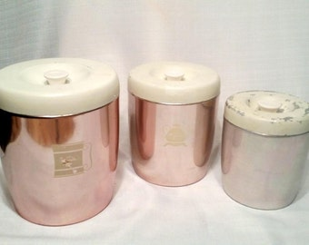 Aluminum Canisters, Pink West Bend Mid Century, Kitchen Storage, Vintage 50's Pastel Pink, Cottage Chic Classic, Nesting Canisters