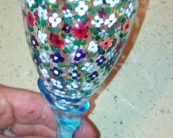 Glass handpainted with colors for glass.