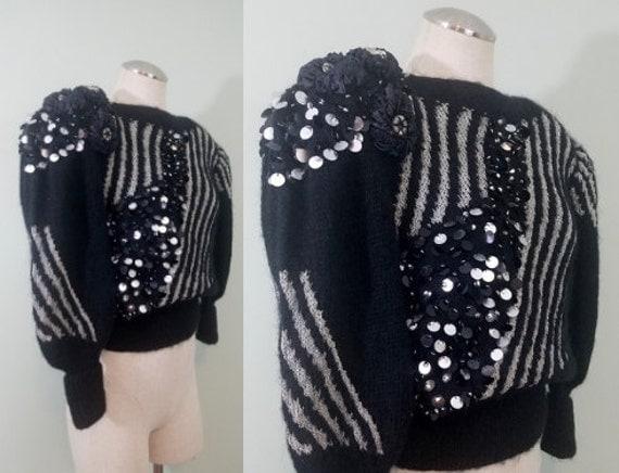 Avant Garde 1980s Handmade Sweater / Metallic Silver and Black Mohair, Angora, Wool / Embellished Jumper / Modern Size Medium to Large