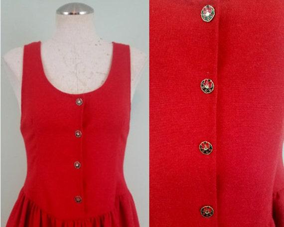 SALE! / 1960s Handmade Holiday Hostess Dress / Mid Century Red Christmas Midi with Pockets / Wreath Buttons / Modern Size Medium M