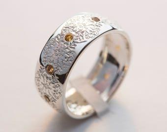 Flower Wedding Band, Boho Wedding Band, Nature Wedding Band, Orange Sapphire Ring, Orange Flower Ring, Boho Sapphire Ring, Boho Wedding