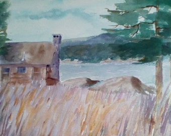 "Lakeside Cabin is an original watercolor painting, done on archival paper, measures 11x14"" and is unmatted and unframed."