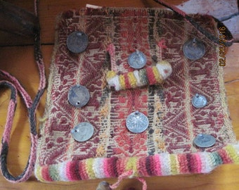 Mid 1800s South American Andes Coca Pouch Chuspa Complete With Coins