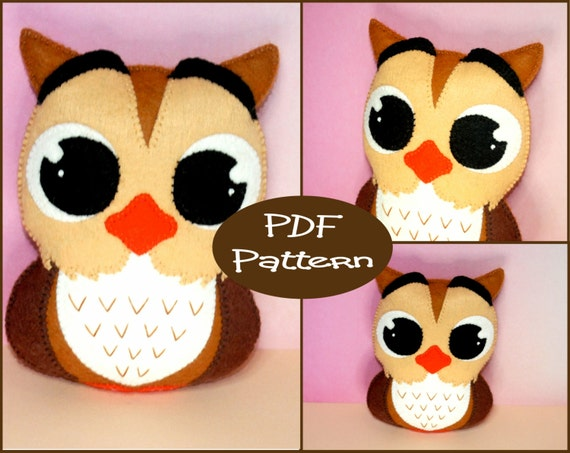 Items similar to PDF Pattern - Felt Owl, Plush Pattern ...