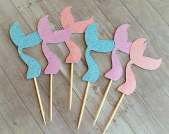 Cupcake Toppers, Mermaid Party, Mermaid Cupcake Toppers, Mermaid Decorations, Mermaid Party Decorations, Under the Sea, Party Decorations
