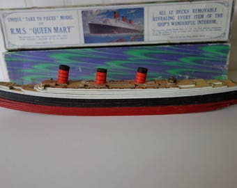 "Chad Valley ""Take to pieces"" Model of R.M.S. Queen Mary 1930's"