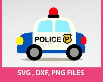 "Police SVG. Police Car Svg, DXF, PNG Formats,  8.5x11"" sheet,  Printable 0041"