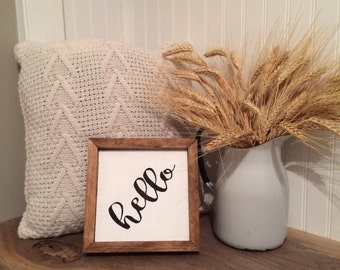 Hello Wood Sign // welcome // welcome sign // hello // farmhouse // wood painted sign // hello sign // farmhouse decor