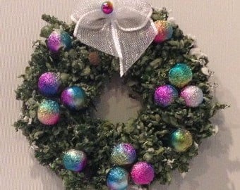 Miniature Dollhouse/Village Wreath - flocked evergreen with rainbow ornaments - Small
