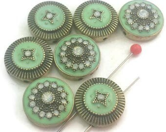 7 green enamel clear AB 2 hole slider beads 11546-H9