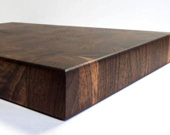 End Grain Cutting Board Black Walnut 19x15x2 with cuttouts on each end