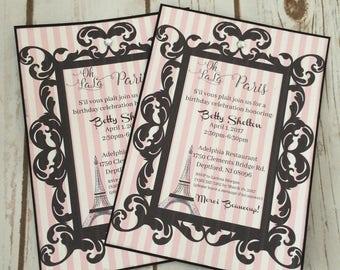 Parisian French Pink & Black Invitation Wedding, Sweet 16,  Bridal/Baby Shower