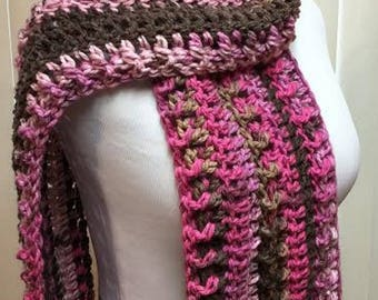 Pink and Brown Crochet Scarf, Wide Crochet Scarf, Chunky Winter Scarf, Open End Scarf, Striped Handmade Scarf, Brown and Pink Scarf