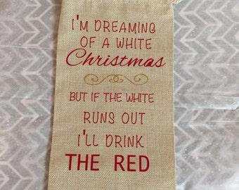 Christmas Wine Gift bag, I'm dreaming of a white Christmas