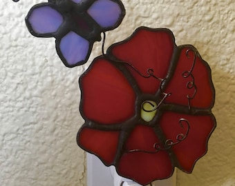 stained glass night light flower and butterfly