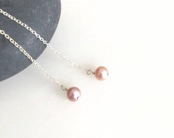 Pearl Drop Earring, Single Pearl Floating Earring, Genuine Freshwater Pearl Earrings