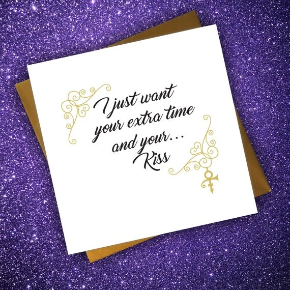 Valentines Birthday Prince Kiss Lyrics Card Anniversary Music
