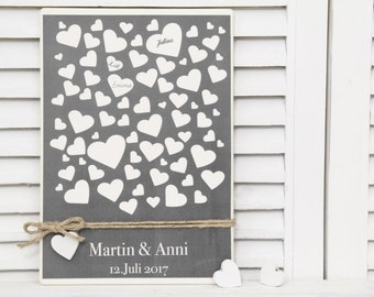 Lovingly personalized wooden guestbook