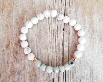 You Are Enough - White Howlite, Sesame Jasper Gemstone Yoga Mala Healing Bracelet
