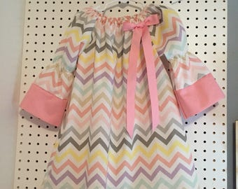 Spring/Easter chevron dress -4T