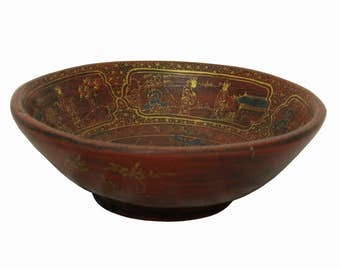 Handmade Vintage Reproduction Chinese Red Wood Bowl With Gold Painted Filial Piety Story n200E
